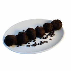 White beans, espresso, honey, olive oil & rolled in cacao. 6 per serving. Gluten free & vegan.